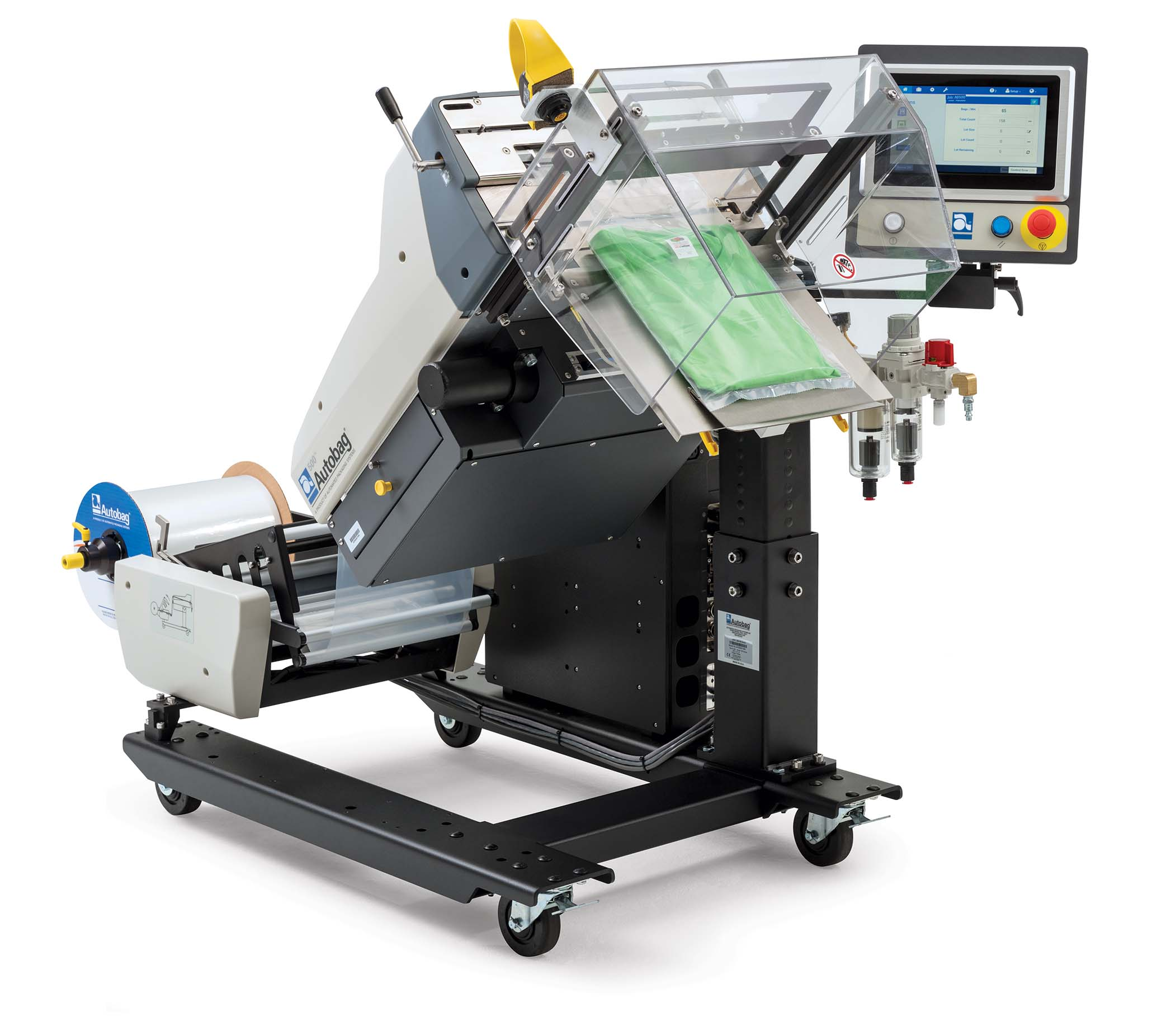Autobag 500 Bagging System 45 degree tilt with t-shirt